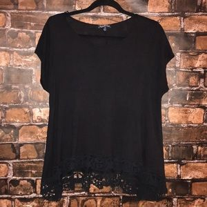 Freshman capped sleeve lace bottom shirt